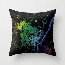 Juba, South Sudan, City, Map, Rainbow, Map, Art, Print Throw Pillow
