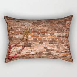 Red ivy hedge climber on wall Rectangular Pillow