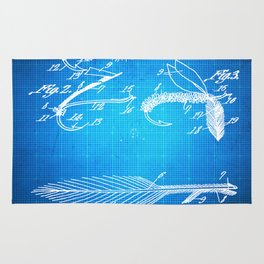 Fly Fishing Bait Patent Blueprint Drawing Rug