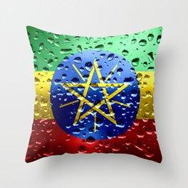 Flag of Ethiopia - Raindrops Throw Pillow