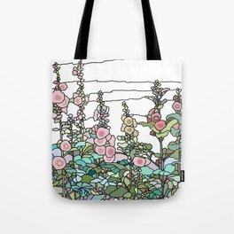 flowers and leaves on white background Tote Bag