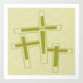 Three Crosses on Calvary. Art Print