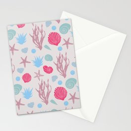 In the Sea - beige and magenta Stationery Cards
