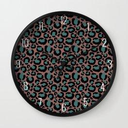 Brown & Teal Leopard Print Wall Clock