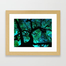 Under The Tree Blue and Green Framed Art Print
