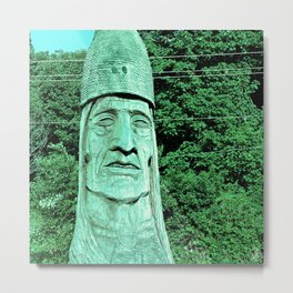 Whispering Giants, Native American Sculpture, Wood Carving, Portrait Metal Print