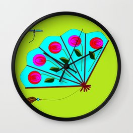A Fan with Roses and a Dragon Fly Wall Clock