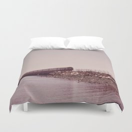 NEW YORK SUBWAY IS ABOVE GROUND WHEN IT CROSSES JAMAICA BAY AREA Duvet Cover