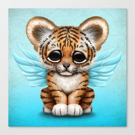 Cute Baby Tiger Cub with Fairy Wings on Blue Canvas Print