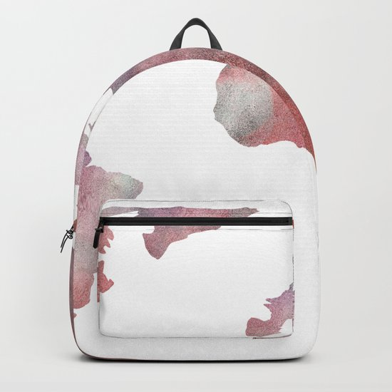 World Map in City Mod Red Slate Backpack