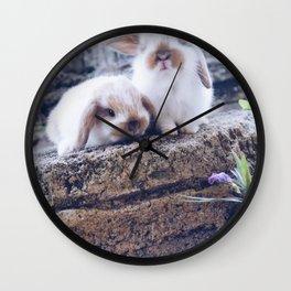 Bunnies rock climbing Wall Clock