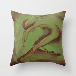 Dancer green Throw Pillow