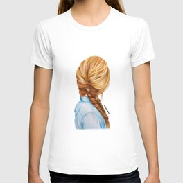 Blonde Fishtail Braid Girl Drawing  T-shirt
