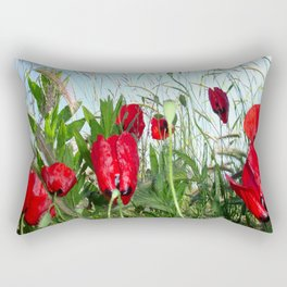 Landscape Close Up Poppies Against Morning Sky Rectangular Pillow