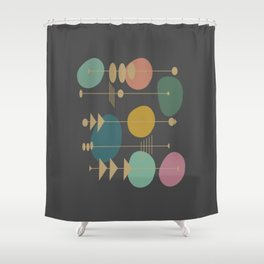 Mid Century Modern Atomic in Grey Shower Curtain
