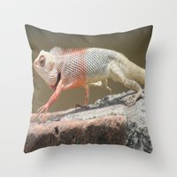 chameleon Throw Pillows featuring Chameleon  by Four Hands Art