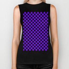 Black and Indigo Violet Checkerboard Biker Tank