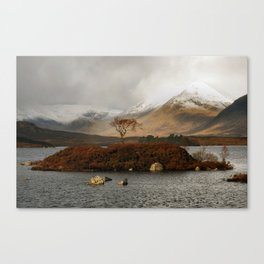 Lone Tree and Dusting of Snow in Mountains of Scotland Canvas Print