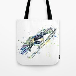 Chickadee Colorful Watercolor Bird Painting Tote Bag