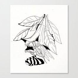 Fairy under angel trumpet - Lineart Canvas Print