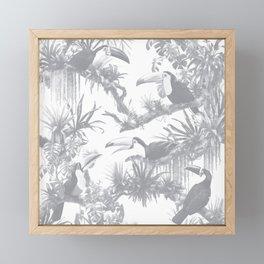 Toucans and Bromeliads - Sharkskin Grey Framed Mini Art Print