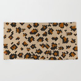 Pixelated Leopard Beach Towel