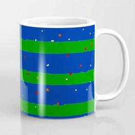 Christmas Bright Green & Blue Stripes With Star Confetti Coffee Mug