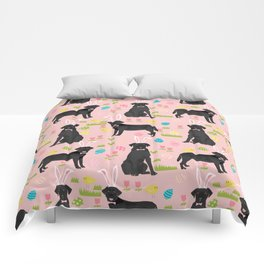 Black Lab labrador retriever dog breed pet art easter pattern costume spring Comforters