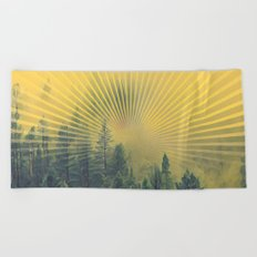 Golden Rays Forest #society6 Beach Towel