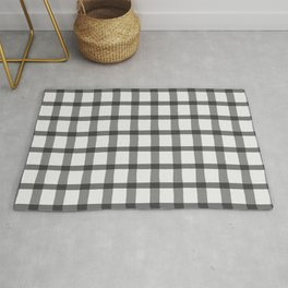 Gray and White Jagged Edge Plaid Rug
