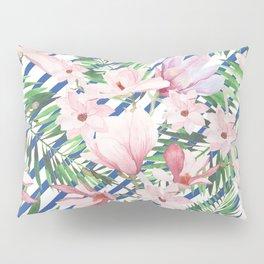 Modern blue white stripes blush pink green watercolor floral Pillow Sham
