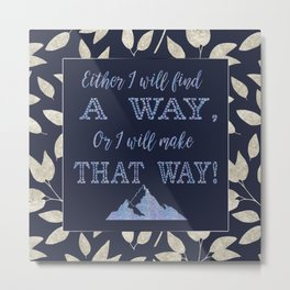 Abstract Silver leaves Navy Blue Inspiring Words Typography Metal Print