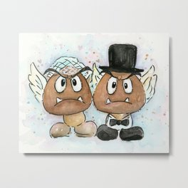 Goombas Bride and Groom, Nintendo Geek Wedding Metal Print