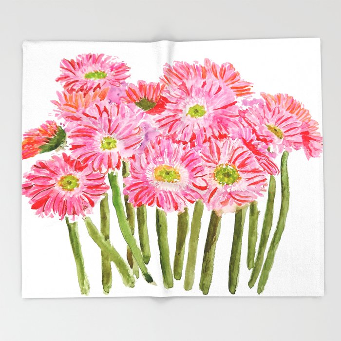 Pink Gerbera Daisy Watercolor Throw Blanket By Colorandcolor Society6