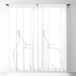 Woman's nude back and shoulders illustration - Alina Blackout Curtain