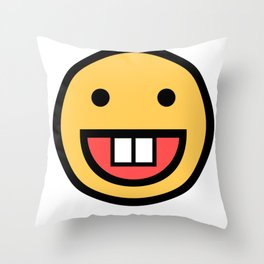 Smiley Face   Big Tooth Out   Smiling Teeth Mouth Throw Pillow