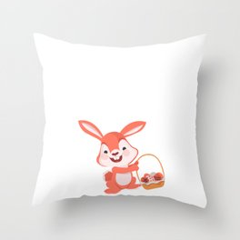 Hop into Spring Easter Bunny Holiday Celebration Throw Pillow
