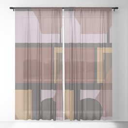 Geometric Brown pattern rings stripes rectangles Sheer Curtain