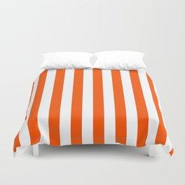 Narrow Vertical Stripes - White and Dark Orange Duvet Cover