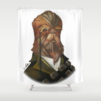 chewbacca Shower Curtains featuring Sir Chewbacca by theMAINsketch