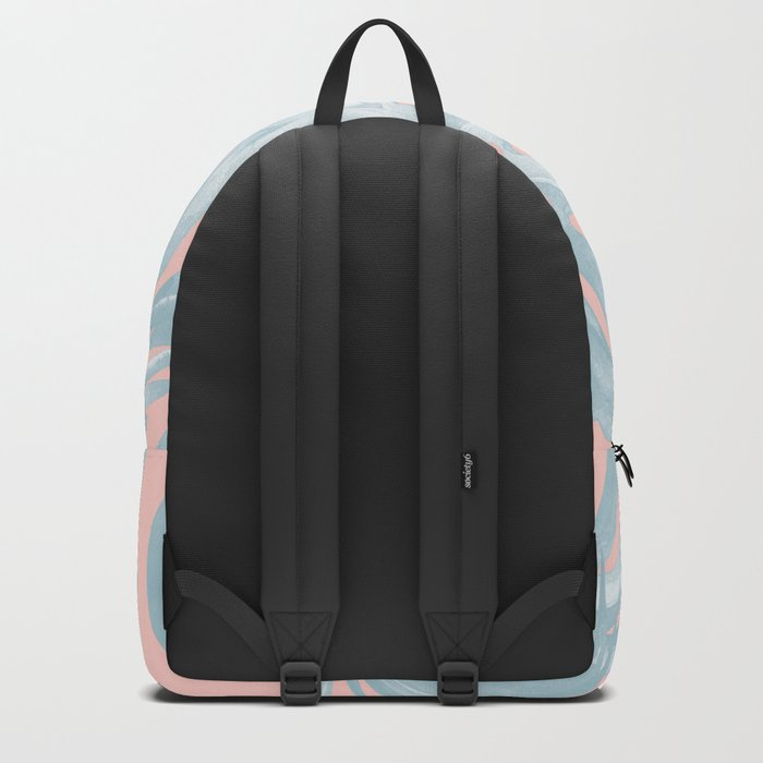 Island Love Pale Teal Blue on Millennial Pink Backpack