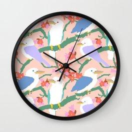 Kookaburra Birds + Little Kurrajong Flowers Wall Clock
