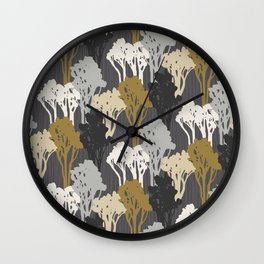 Arboreal Silhouettes - Golds & Silvers Wall Clock
