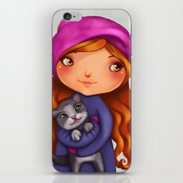 Little girl with kitty iPhone Skin