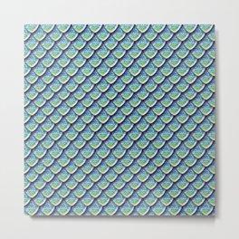 Elegant Aqua Dragon Scales Metal Print