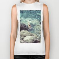 swimming Biker Tanks featuring SWIMMING by Marte Stromme