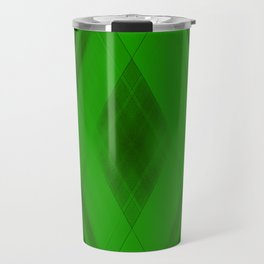Ice triangular strokes of intersecting crisp lines with green triangles and stripes. Travel Mug