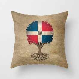 Vintage Tree of Life with Flag of Dominican Republic Throw Pillow