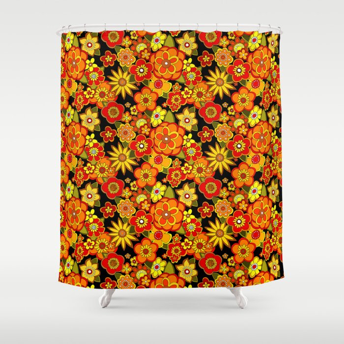 Super Groovy Flowers Black Base Orange Shower Curtain By Yesterdaypeople