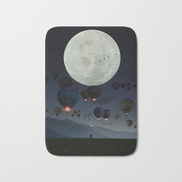 Human facing the moon and balloons by GEN Z Bath Mat